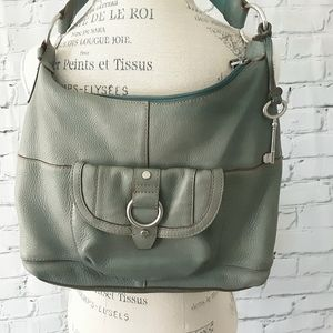 FOSSIL GREEN HOBO LEATHER BAG